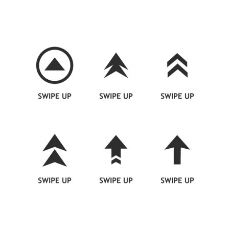 Swipe up buttons set. Application and social network icons. Vector illustration