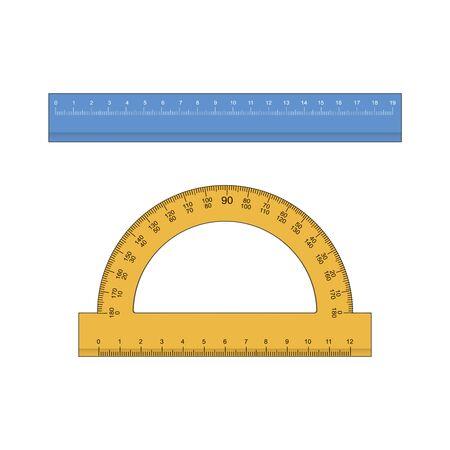 Righello, righello triangolo, goniometro per scuola e affari. illustrazione vettoriale Vettoriali
