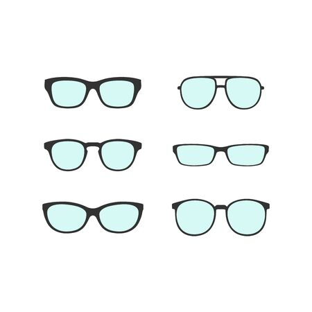 Hipster Glasses and Sunglasses icons on gray background. Vector Illustration.