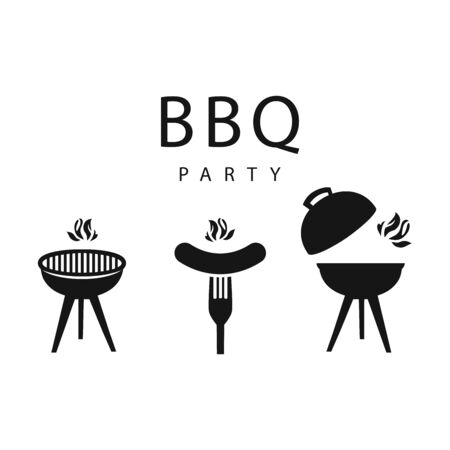 grilled bbq party icon style for invitation car or flyer or poster Stock Illustratie