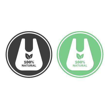 Vector environmentally friendly biodegradable paper bag against not degradable plastic.