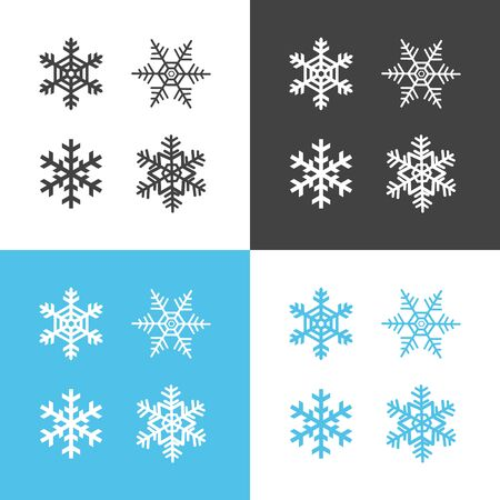 set of snowflakes on white black and blue background vector iluustration Stock Illustratie