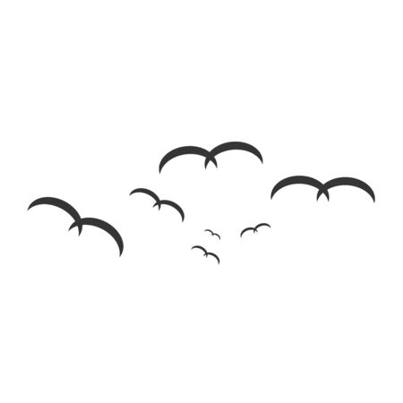 Set of birds silhouettes - flying