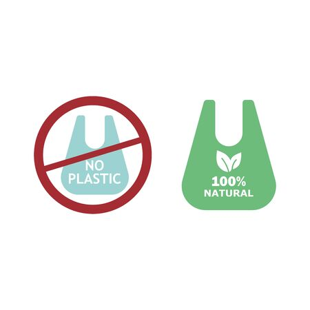 Vector environmentally friendly biodegradable paper bag against not degradable plastic.