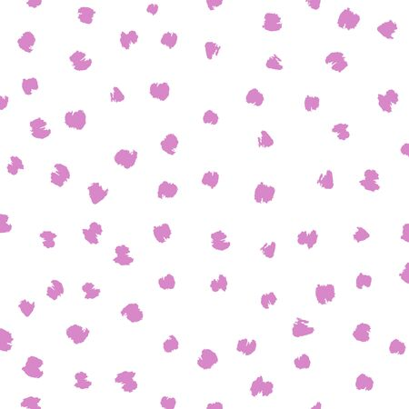 Seamless pink and white vector free hand doodle texture with dots, dry brush ink art.