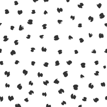 Seamless black and white vector free hand doodle texture with dots, dry brush ink art.
