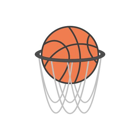 basketball hoop and ball basketball hoop with basketball, vector illustration