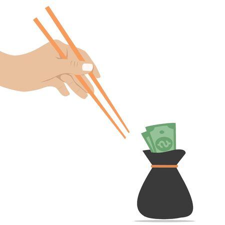 Hand, die versucht, mit einem Nudelstock an Geld zu kommen