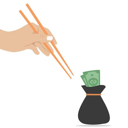 hand trying to get money with a noodle stick