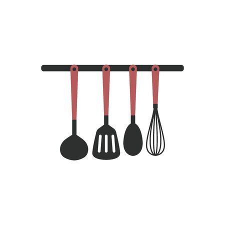Simple icon of kitchen utensils vector illustration on white background