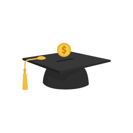 Ponga a mano la moneda de oro en la gorra de graduación. concepto de ahorro e inversión en educación sobre fondo azul. ilustración vectorial en diseño plano.