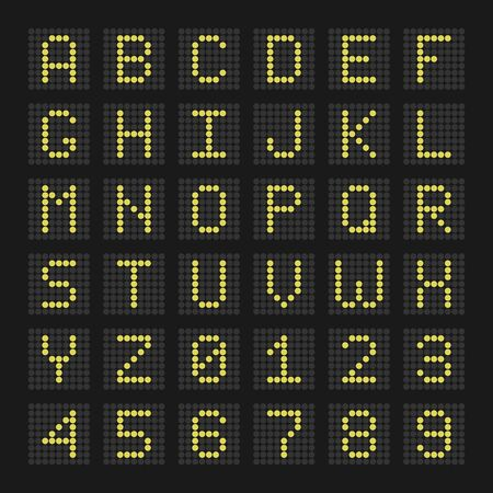 digital letters and numbers display board for airport schedules, train timetables, scoreboard etc.