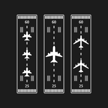 Takeoff and landing airplanes set. Runway with jet aircraft top view. Airport elements top view. Instrument landing system scheme. Vector airport symbol and background.
