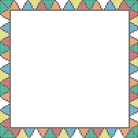 Set of seamless embroidered goods like handmade cross-stitch ethnic pattern for design. Vector red and black yellow orange blue whute green borders illustration on white background.  イラスト・ベクター素材