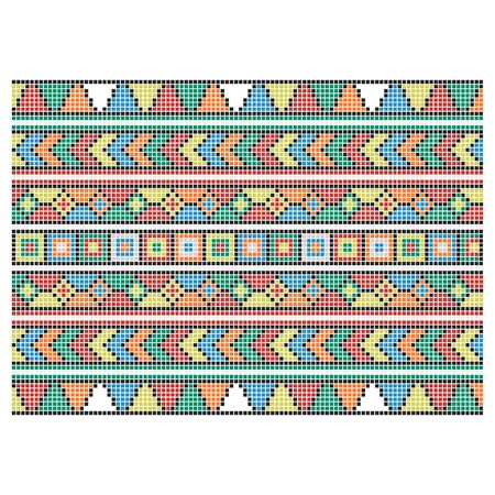 Set of seamless embroidered goods like handmade cross-stitch ethnic pattern for design. Vector red and black yellow orange blue whute green borders illustration on white background. Illusztráció