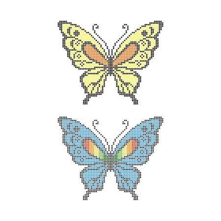 Dots in shape of butterfly, rainbow colors for your designю  イラスト・ベクター素材