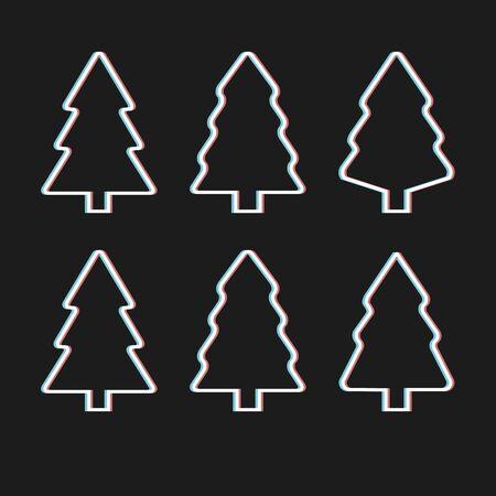 Christmas trees line shapes set. Vector illustration.