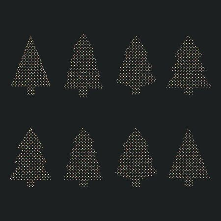 Cool dotted christmas card vith cristmas trees vector illustration  イラスト・ベクター素材