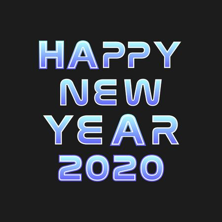 Happy New Year lettering on blue blurry vector background with sparkles. Greeting card design template with 3D typography label.