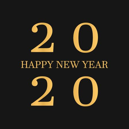 vector illustration of happy new year gold and black collors place for text 2020