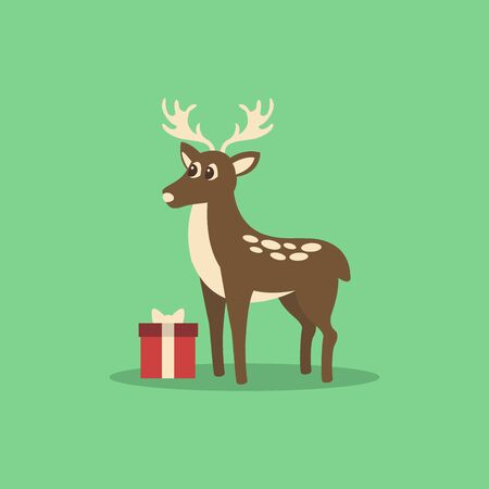 Christmas card with deer and present vector illustration on green background.