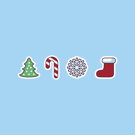 Set of flat Christmas icons vector illustration on blue background.