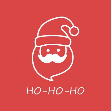 illustration of Santa Claus hat, mustache and beard singing ho ho ho wishing Merry Christmas