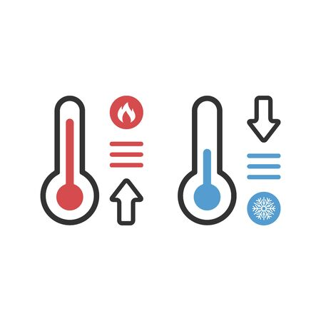 Temperature flat vector icon. Chill symbol concept isolated. Weather, hot and cold climate in trendy style for web site, mobile app design. illustration.