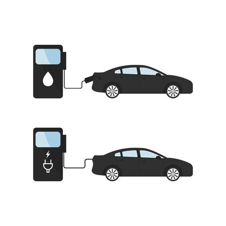 Comparing electric versus gasoline diesel car. Electric car charging at charger stand vs. fossil car refueling petrol gas station.