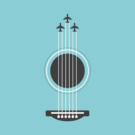 Vector guitar flat style illustration. Music instrument abstract graphic design, colorful and vivid  イラスト・ベクター素材