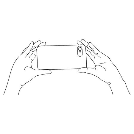Taking Selfie Photo on Smart Phone concept. vector doodle style illustration  イラスト・ベクター素材