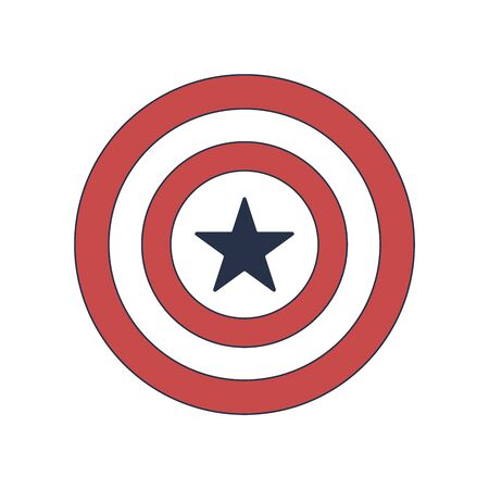 Shield with National Colors of America, Vector Illustration on white background.  イラスト・ベクター素材