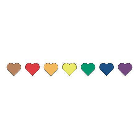 Vector seamless pattern of rainbow colored hearts in different sizes isolated on white the background.  イラスト・ベクター素材