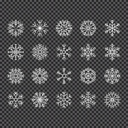 Realistic falling snowflakes. Isolated on transparent background. Vector illustration, eps 10.  イラスト・ベクター素材
