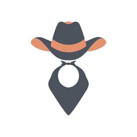 Cowboy icon. Retro Hat, mustache and scarf