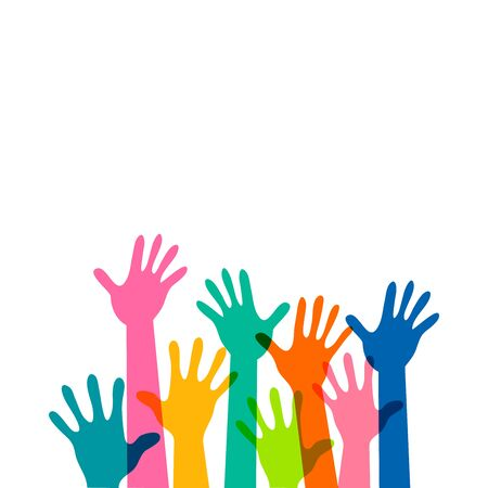 Volunteer education poster mockup, colorful children hands up is lifted upwards white background