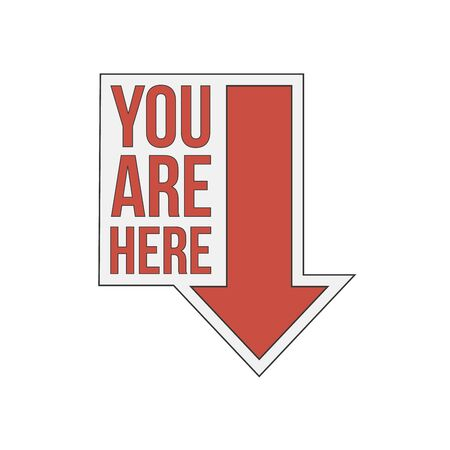 You are here sign icon. Info speech bubble. Map pointer with your location. Vector illustration on white background  イラスト・ベクター素材