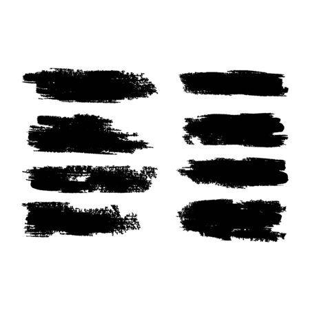 Vector collection of artistic grungy black paint hand made creative brush stroke set isolated on white background. A group of abstract grunge sketches for design.
