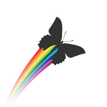 Black butterfli creating a rainbow. Vector illustration, everything can be very easily separated or recolored.  イラスト・ベクター素材