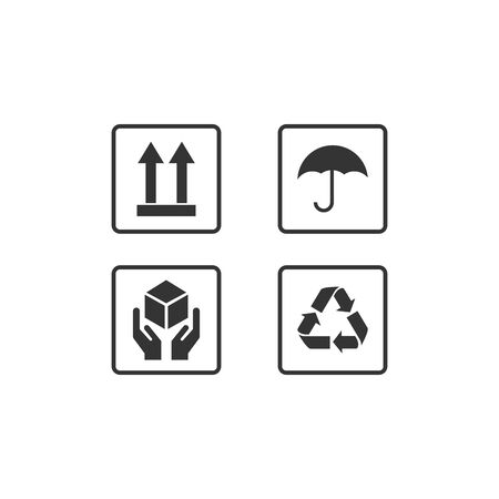 Set Of Packaging Symbols including fragile protected from moisture and other signs. Can be used on the packaging.