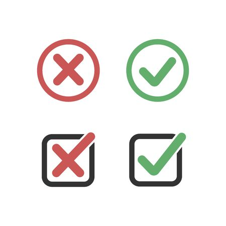 Check mark stickers. Vector illustration on white background.
