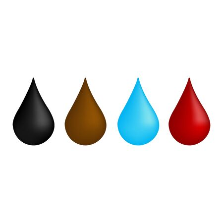 Set of multicolored drops on white background, drop of oil, water,and blood. Vector illustration for website.  イラスト・ベクター素材
