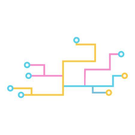 Electronic Circuit Line, Technology Logo Template Illustration Design.
