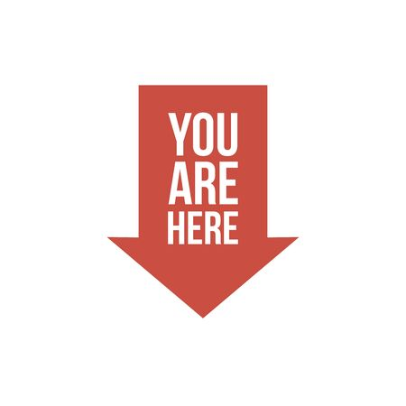 You are here sign icon. Info speech bubble. Map pointer with your location. Orange circle button with icon. Vector 向量圖像