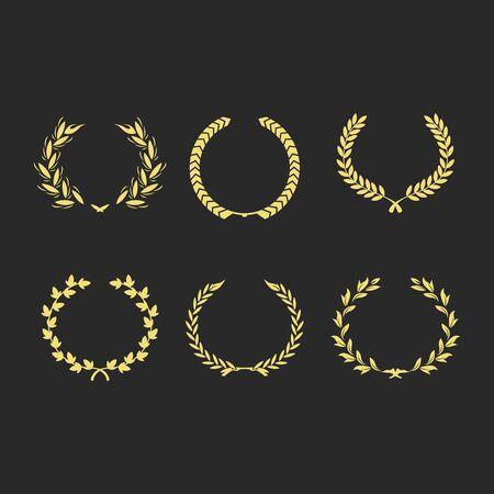 Set from gold laurel wreath on the black background vector illustration