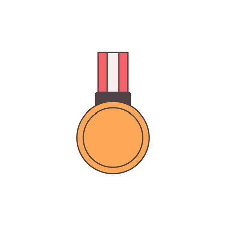 detailed illustration of a retro flat style medal  ribbon 向量圖像