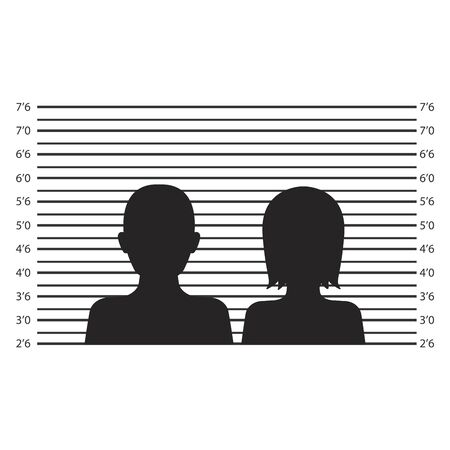 Silhouette of anonymous male or female in mugshot or police lineup background 向量圖像