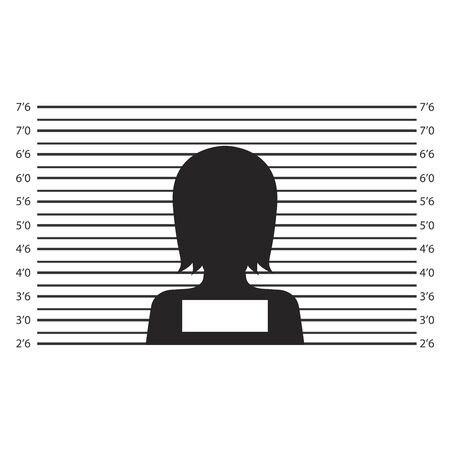 Silhouette of anonymous woman in mugshot or police lineup background