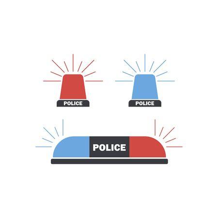 Siren set. Police flasher or ambulance flasher icons in flat style 版權商用圖片