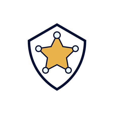 Sheriff s Badge vector icon for sheriffs star, western, police, deputy, authority concept flat style on white background